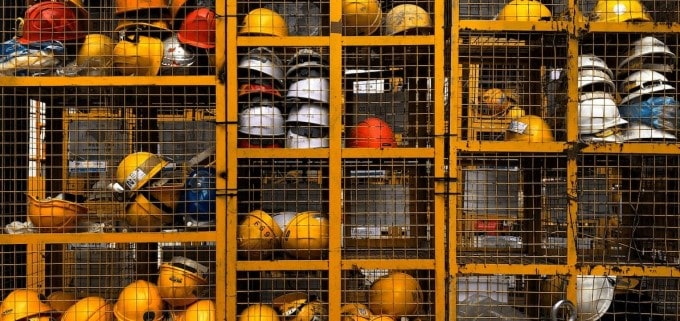 Gathering of construction safety helmets